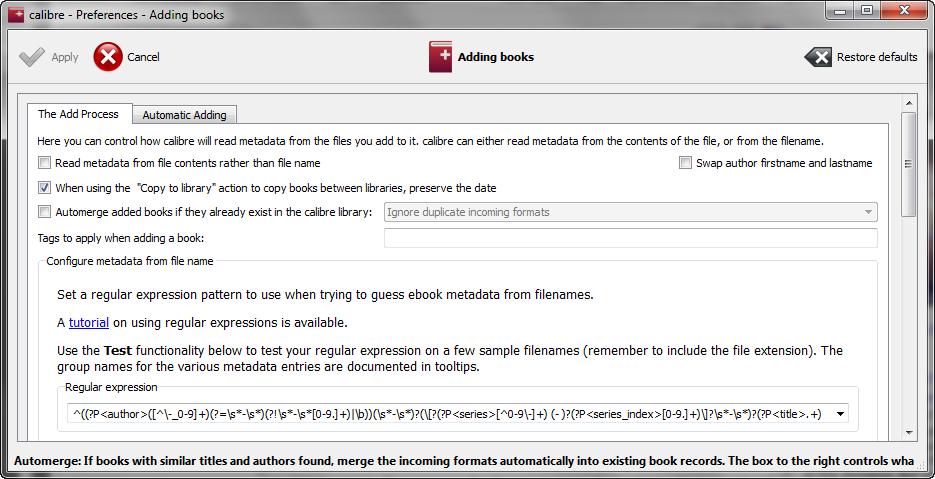 Preferences for adding books in Calibre