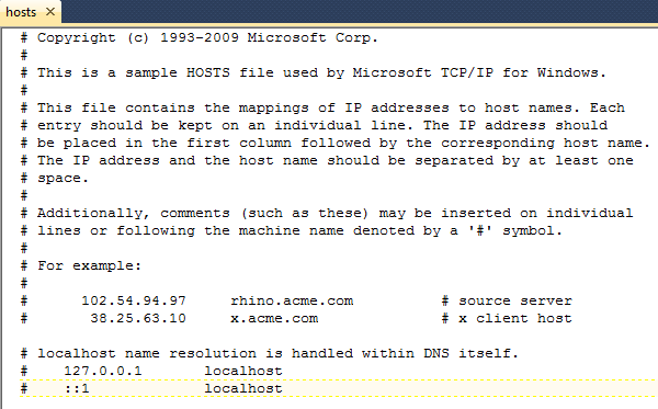 Figure 3: The IIS hosts file.