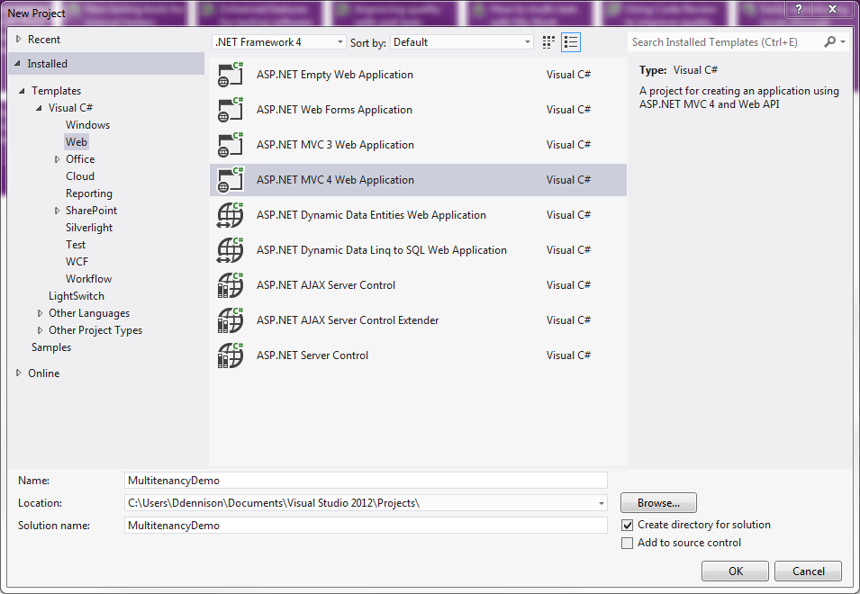 Figure 4: Adding the ASP.NET MVC 4 web application project.