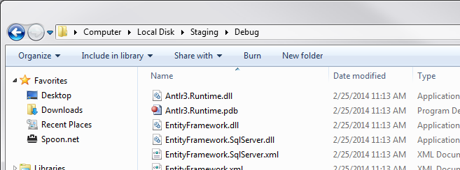 Figure 13: The staging Debug folder contents from the initial build.