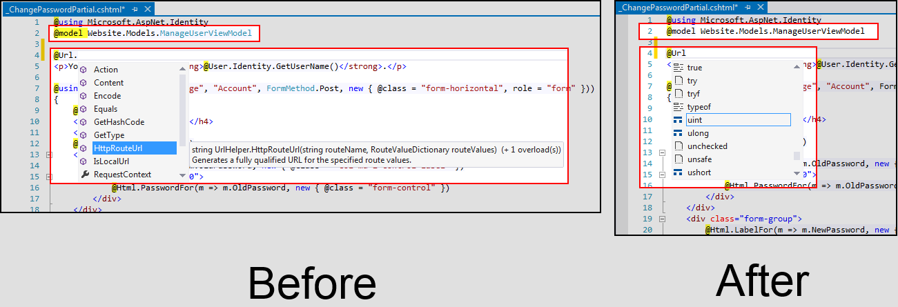 Figure 14: The .NET web application view before and after the OutputPath update.