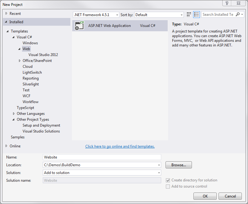 Figure 2: Creating the ASP.NET Web Application.