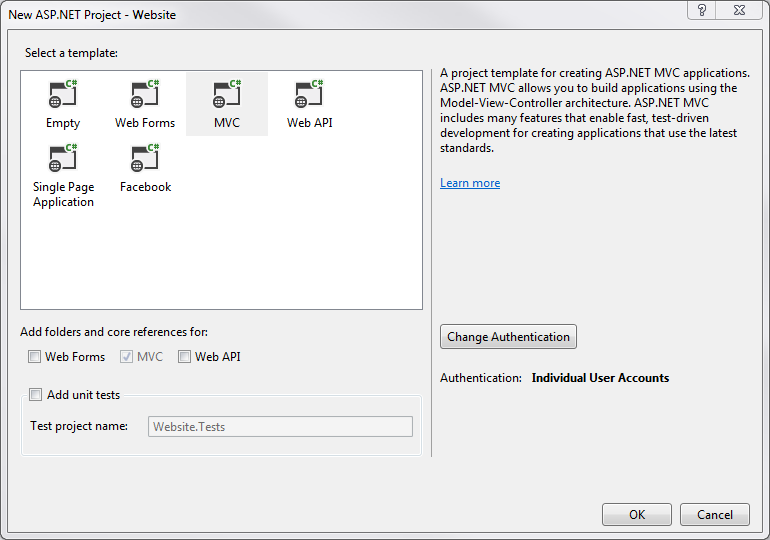 Figure 3: The New ASP.NET Project dialog.