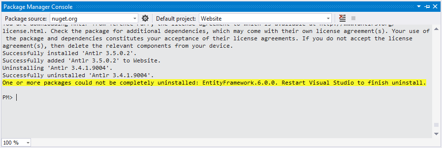Figure 6: Restart Visual Studio to complete the update.